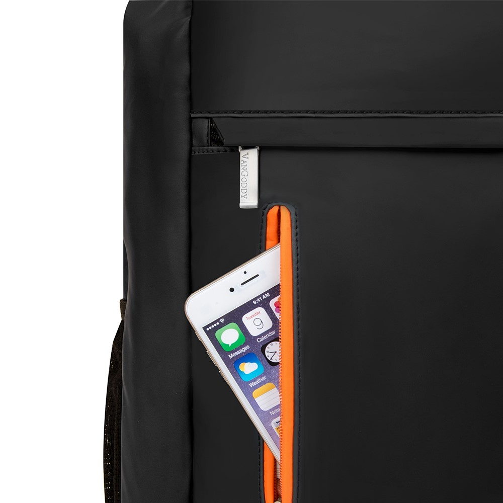 "Adler Laptop Backpack 15.6"" (Metallic Grey with Orange Trim)"