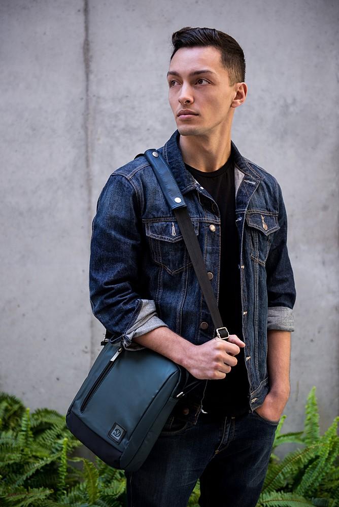 """Adler Laptop Shoulder Bag 10.2"""" (Navy Blue/Black Trim)"""