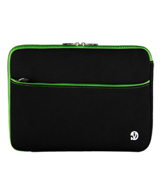"Neoprene Sleeve 13"" (Black/Green Trim)"