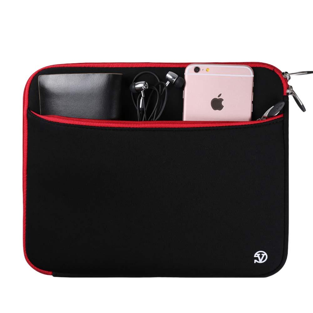 (Black/Red) Neoprene 12 Laptop Carrying Sleeve