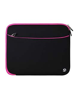 (Black/Pink) Neoprene 12 Laptop Carrying Sleeve