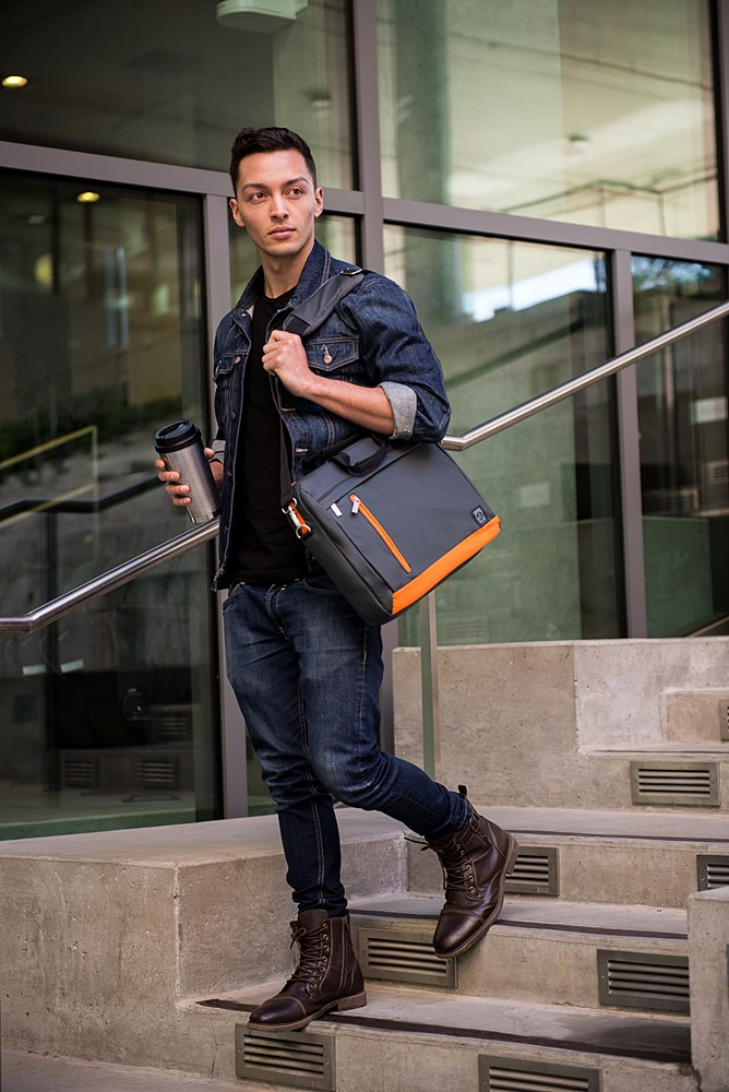 "Adler Laptop Shoulder Bag 15.6"" (Metallic Grey/Orange Trim)"