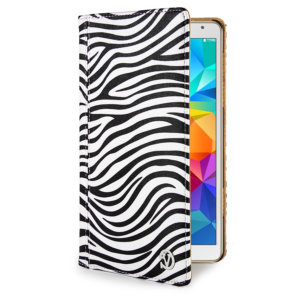 Mary Portfolio Case for Samsung® Galaxy Tab 4 8.0 with Sleep Mode (Black/White Zebra)