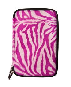 Magenta Zebra Faux Fur Hard Cube