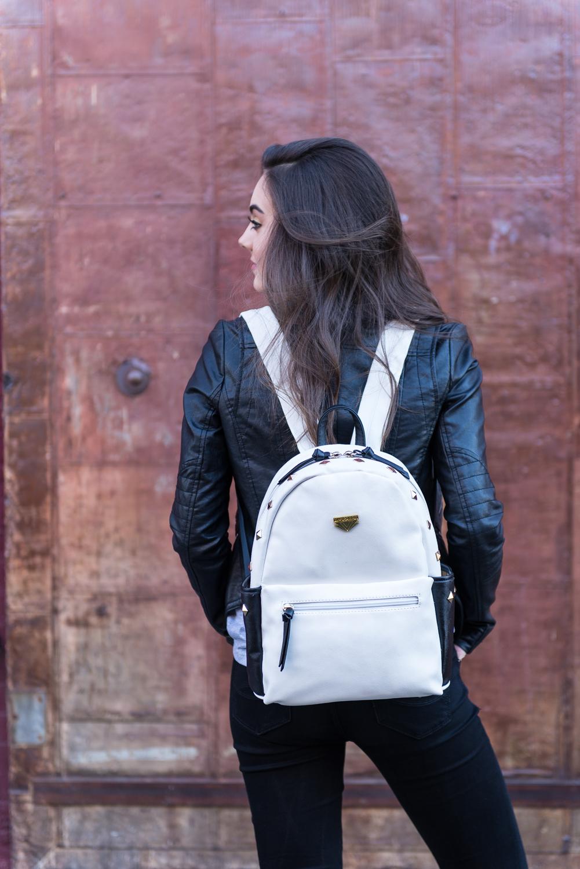 Mini Rivets PU Leather Backpack (White)