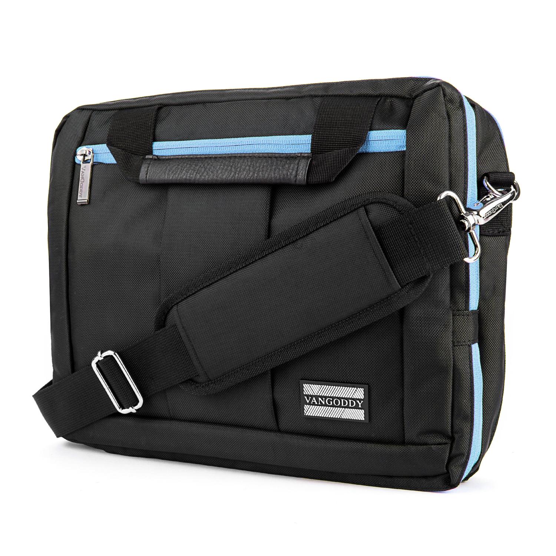 """El Prado Laptop Messenger/ Backpack (Black/Aqua)10-12"""""""