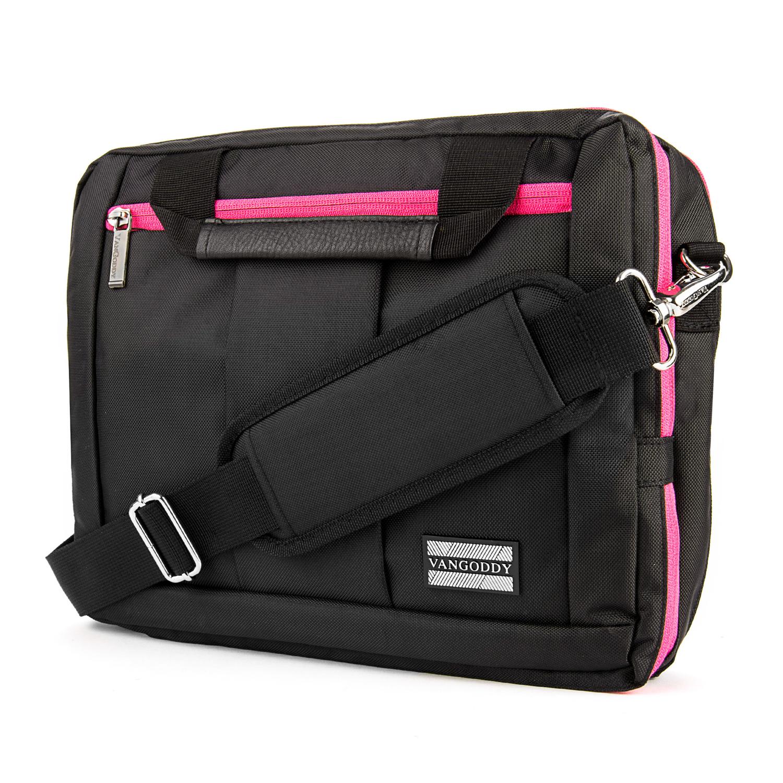 "El Prado Laptop Messenger/ Backpack (Black/Magenta) 10-12"""