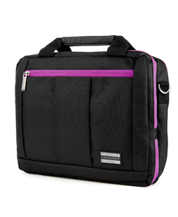 El Prado Laptop Messenger/ Backpack (Black/Purple) 10-12