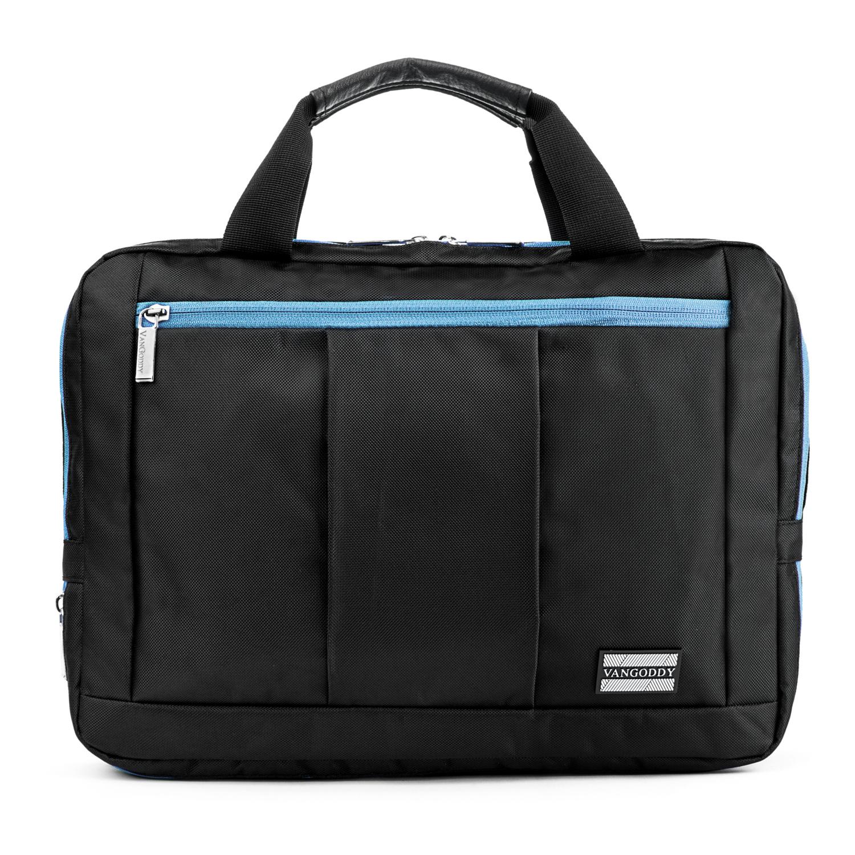 """El Prado Laptop Messenger/ Backpack (Black/Aqua) 13-14"""""""