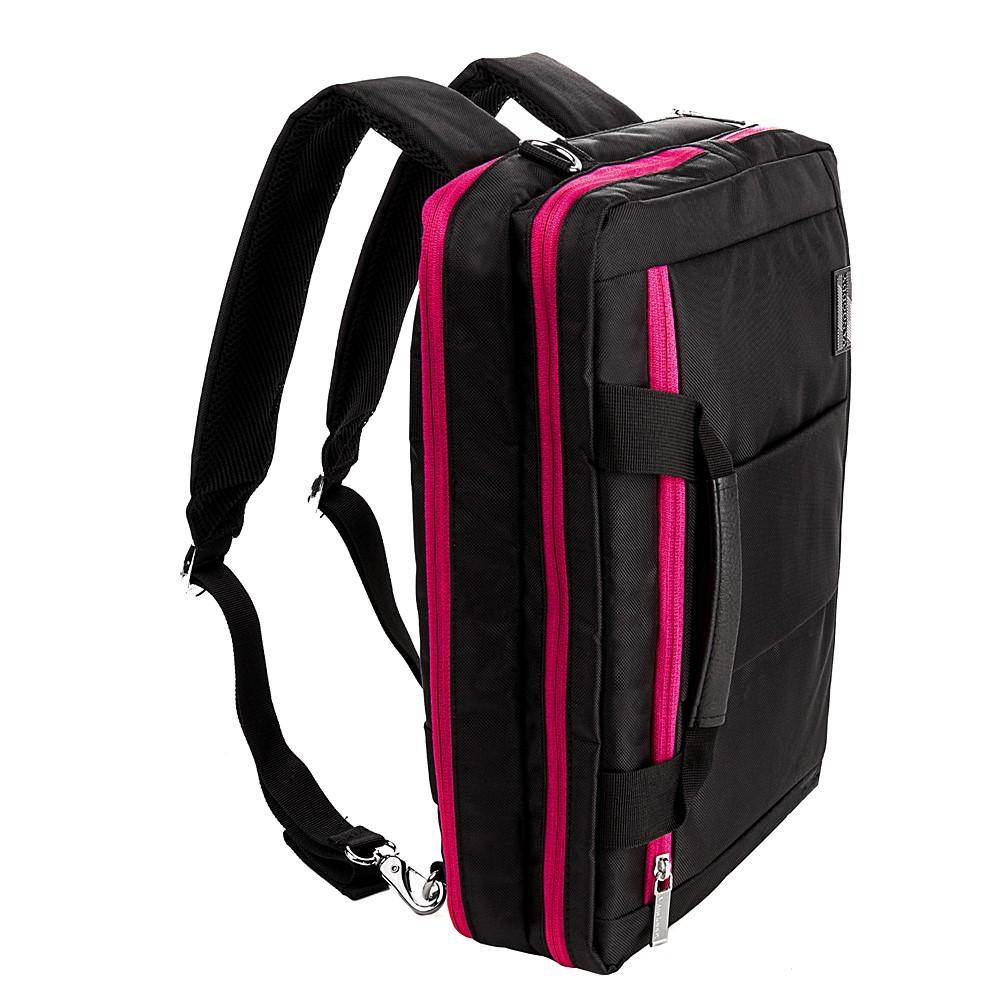 "El Prado Laptop Messenger/ Backpack (Black/Magenta) 13-14"""