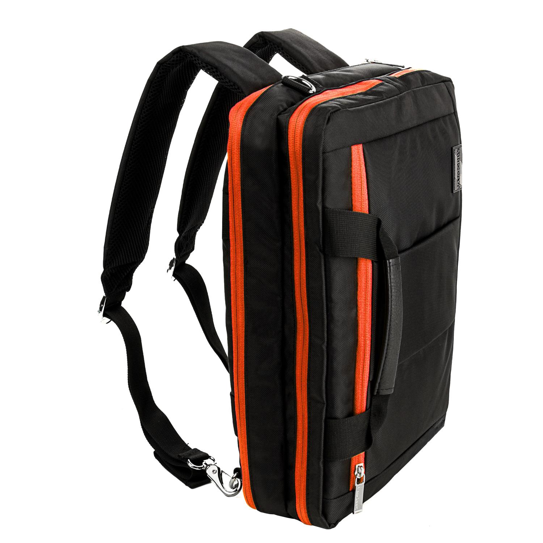 "El Prado Laptop Messenger/ Backpack (Black/Orange) 13-14"""