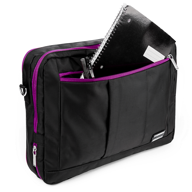 """El Prado Laptop Messenger/ Backpack (Black/Purple) 13-14"""""""