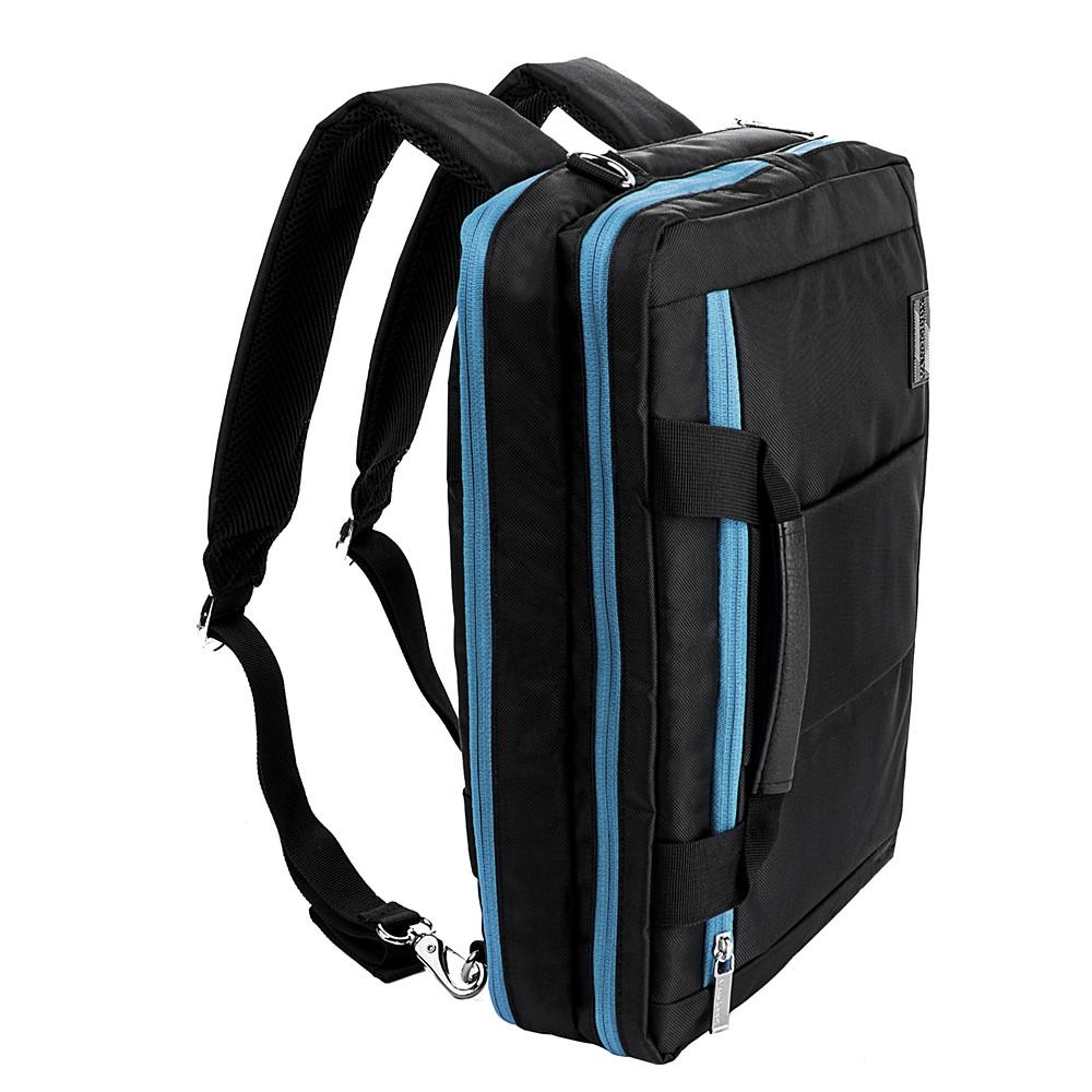 """El Prado Laptop Messenger/ Backpack (Black/Aqua) 15-17"""""""
