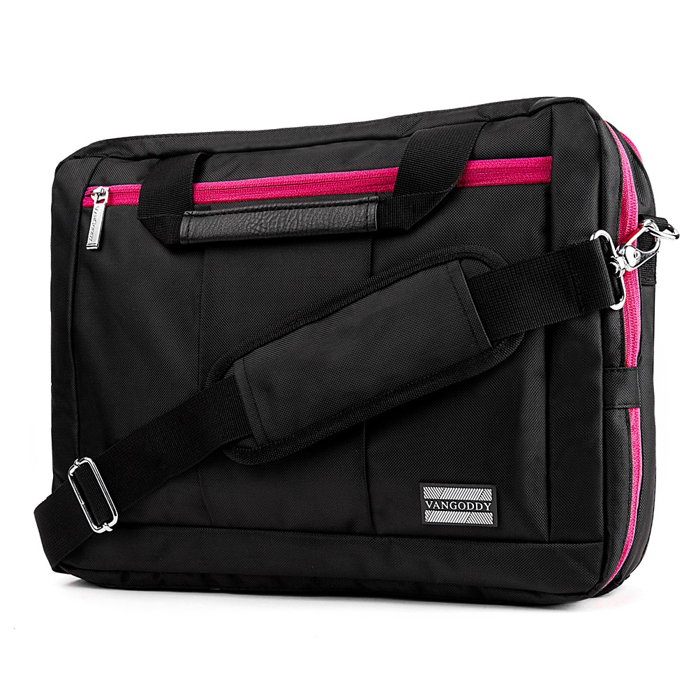 El Prado Laptop Messenger/ Backpack (Black/Magenta) 15-17""