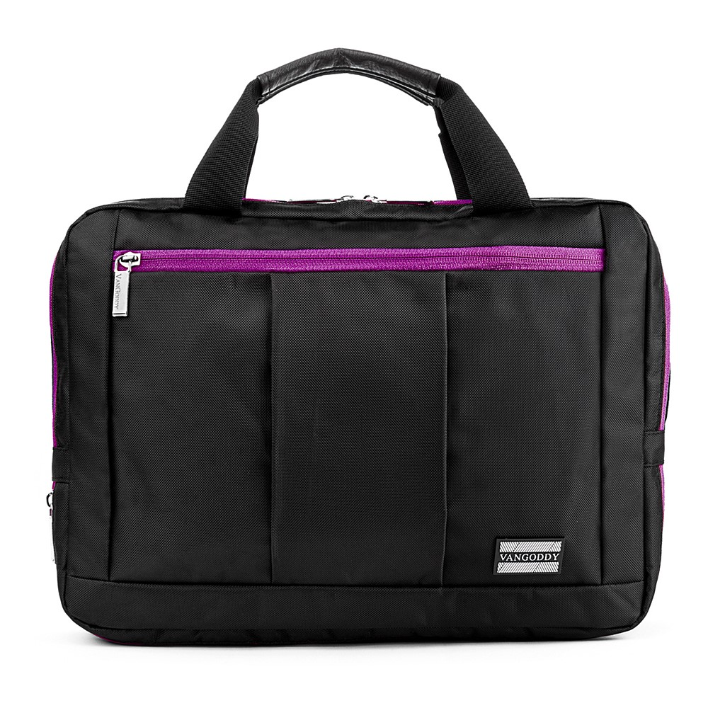 El Prado Laptop Messenger/ Backpack  (Black/Purple) 15-17""
