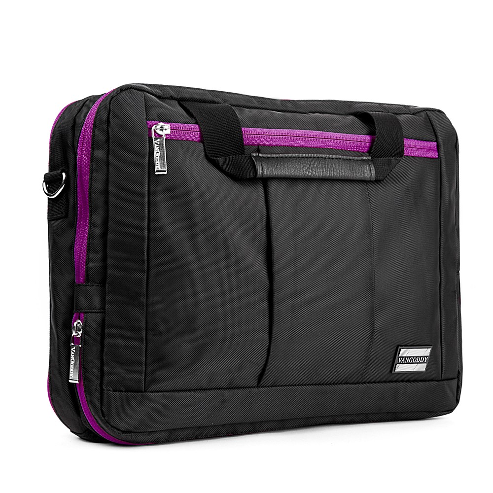El Prado Laptop Messenger/ Backpack  (Black/Purple) 15-17