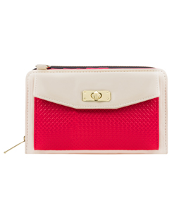 Venice II Clutch (Cream/Magenta)