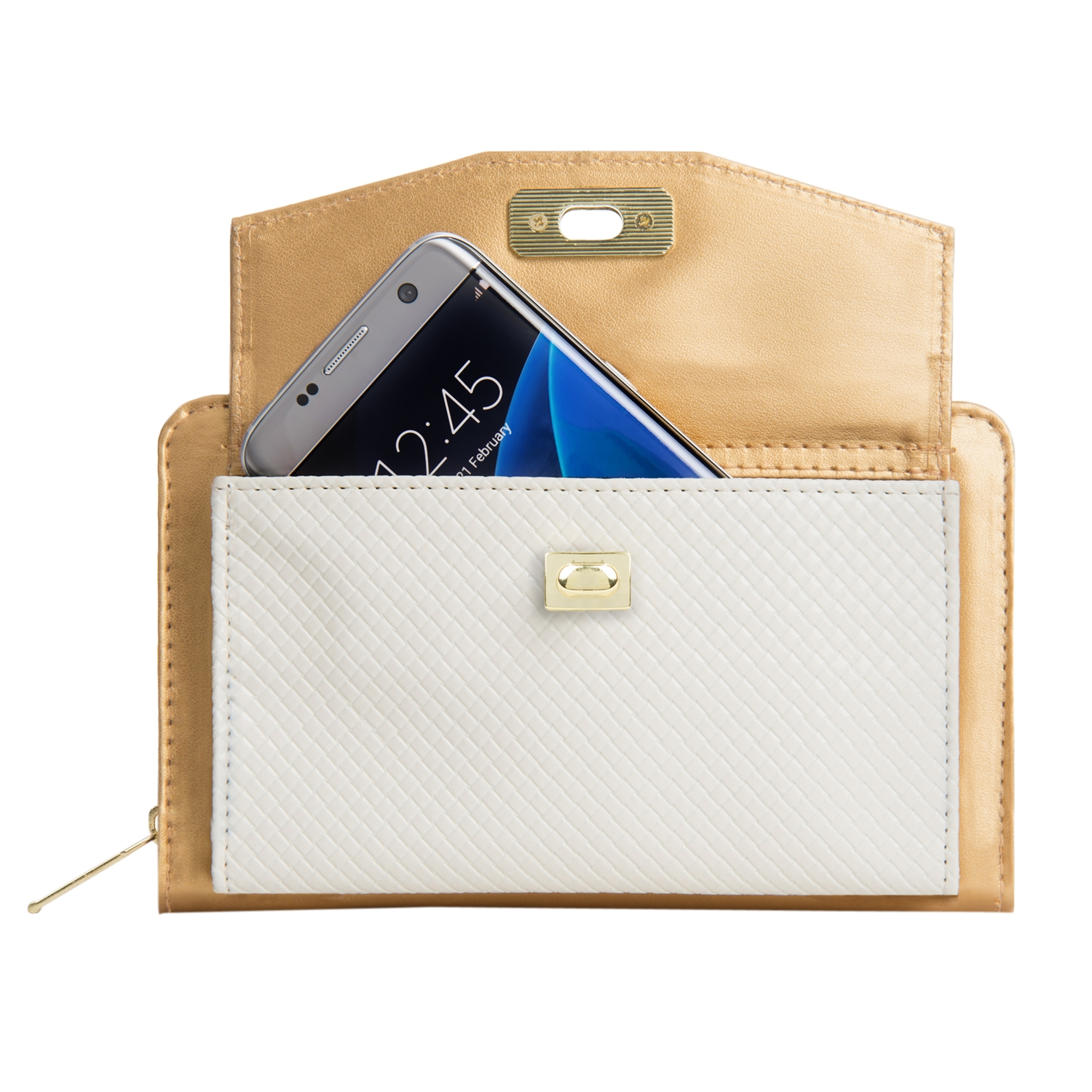 Venice II Clutch (Gold/White)