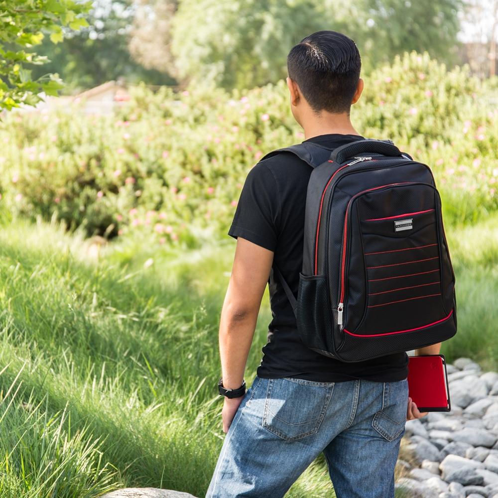 "Bravo Laptop Backpack 15"" Black Red"