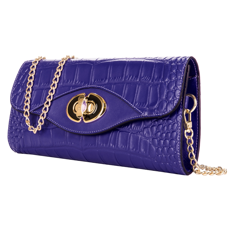 Cassie Leather Clutch (Blue)
