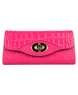 Cassie Leather Clutch (Magenta)