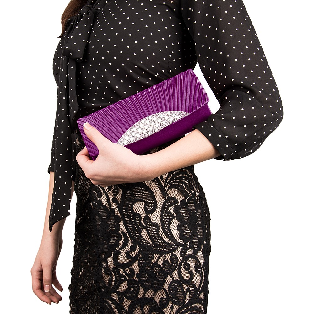 Anna Diamond Clutch  (Purple)