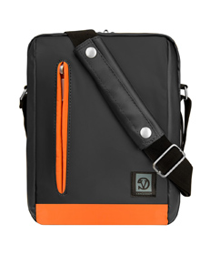 "Adler Laptop Shoulder Bag 10.2"" (Metallic Grey/Orange Trim)"