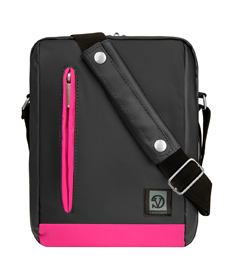 "Adler Laptop Shoulder Bag 10.2"" (Metallic Grey/Magenta Trim)"