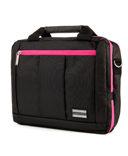 "El Prado Laptop Messenger/ Backpack (Black/Magenta) 15-17"""