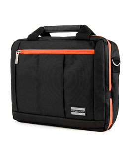 "El Prado Laptop Messenger/ Backpack (Black/Orange) 15-17"""