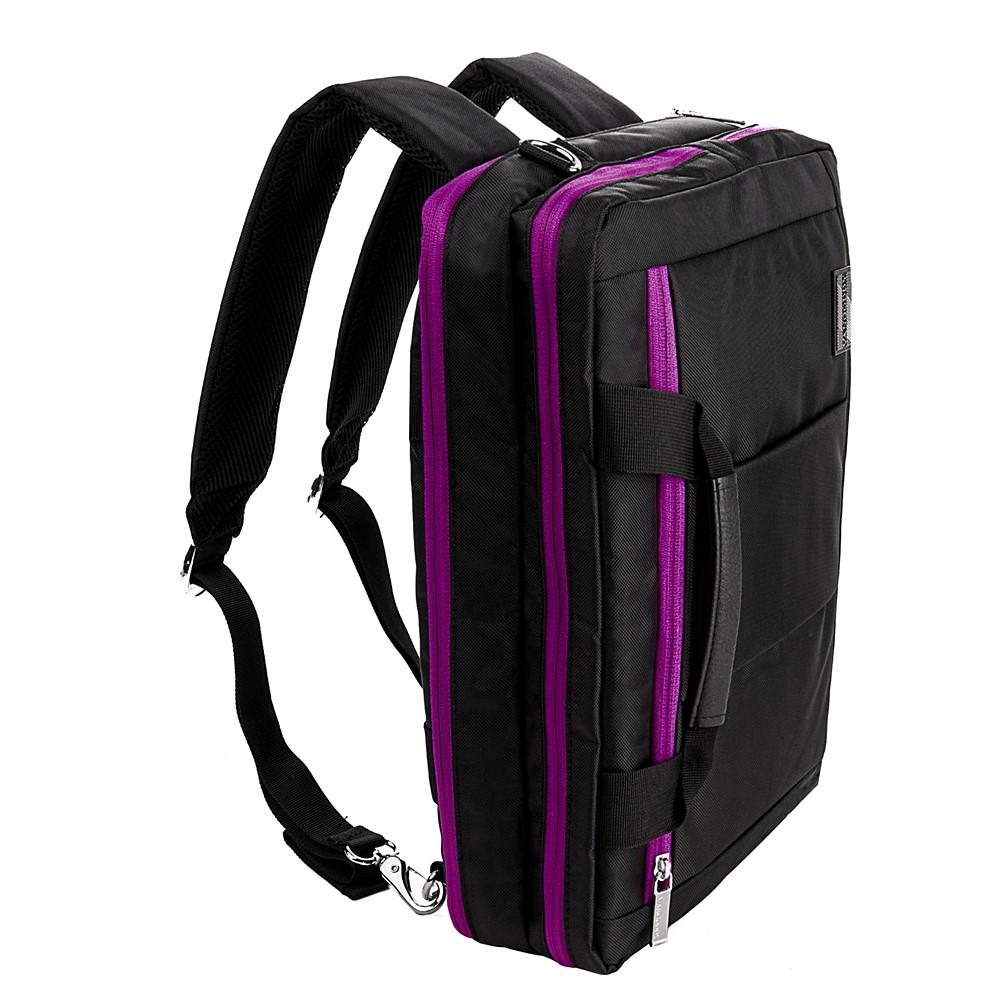 """El Prado Laptop Messenger/ Backpack  (Black/Purple) 15-17"""""""